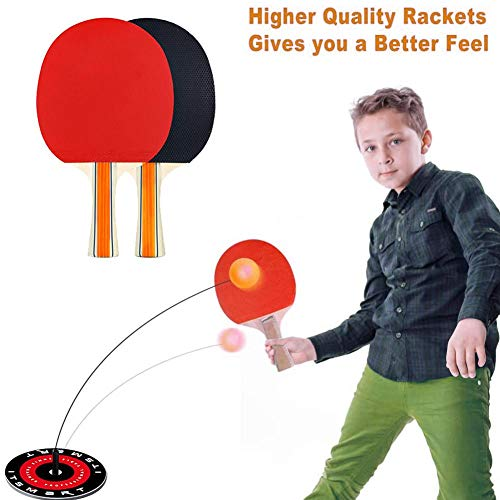 %45 OFF! astolily Portable Table Tennis Set, Table Tennis Trainer Elastic Shaft with 2 Rackets and 3...