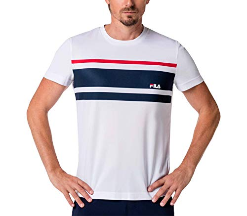 Fila Herren, Trey T-Shirt Weiß, Dunkelblau, S Oberbekleidung, S