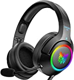 ONIKUMA Gaming Headset for PC, PS4, Xbox one, Noise Canceling Gaming Headphone with Mic and Surround Sound, RGB LED Light, Compatible with Super Nintendo, Xbox One Controller(Adapter Not Included)