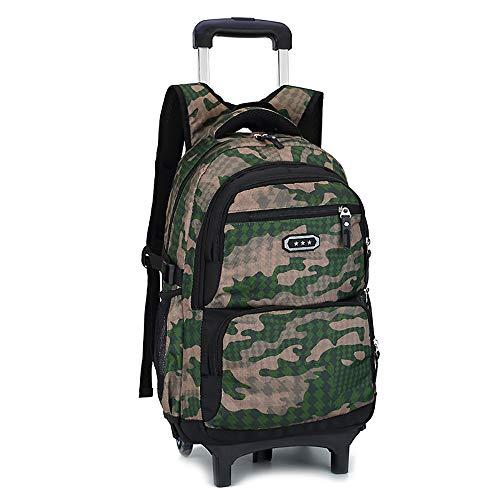 TFTREE Trolley Schultasche Kids Rollrucksack für die Schule Klasse 1-6 Jungen und Mädchen Reisetasche mit Rollen Wasserdichte, leichte Schülertasche als Geschenk-brown