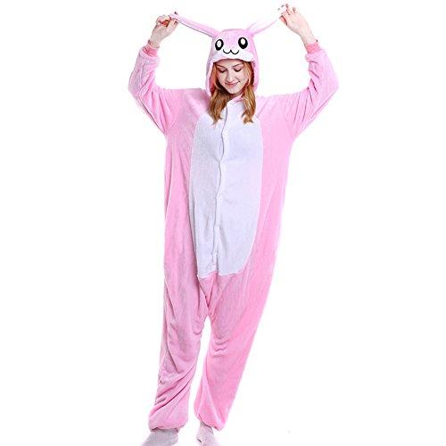 LSERVER Disfraz de Cosplay para Adultos Traje de Unisexo Pijama de Franela de Otoño e Invierno Estilo de Animales, Conejo Rosa, S (147-157cm)