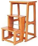 MJK Leiter Hocker, Klappstühle Dreischichtstufen Massivholz, 3 Farben, starke Belastbarkeit,Honig Farbe,400x240x605mm