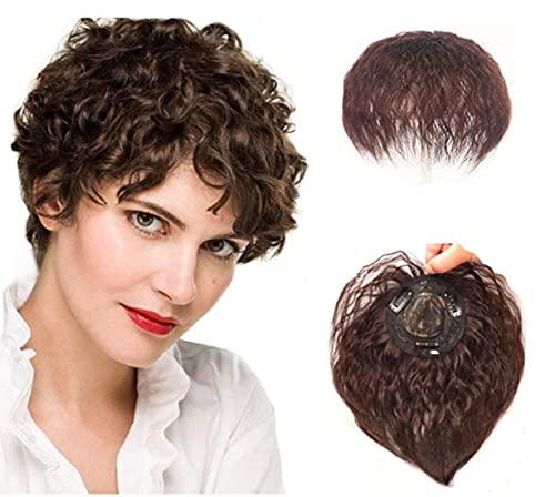Topper per capelli umani ricci naturali per donne che diradano i capelli soffici ondulati a forma di corona con clip per parrucchino (marrone scuro)