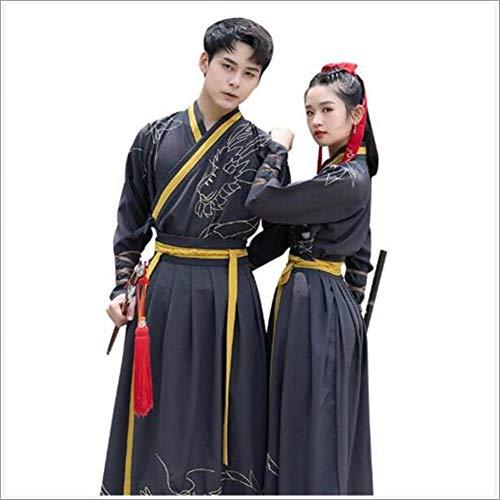 JINPENGRAN Adulto Hanfu Hombres y Mujeres Parejas Disfraz de Traje de Artes Marciales Traje de Estilo,4XL