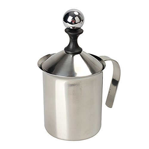 Vktech 400ml Stainless Steel Milk Frother Double Mesh Milk Creamer Milk Foam