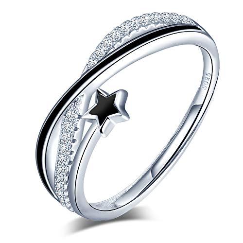 Yumilok Anillo de plata de ley 925 para mujer, anillo abierto de estrella fugaz, incrustación de circón, tamaño ajustable, regalo de cumpleaños de Navidad, tamaño adecuado: 49-57