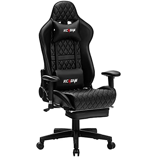 KCREAM Gaming Chair High Back Racing Style Computer Desk Chair with Footrest Adults Leather Gamer Chair with Headrest and Lumbar Support (Black)