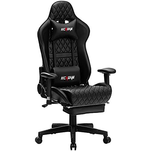 KCREAM Gaming Stuhl Gaming Sessel Massage Racing Bürostuhl Höhenverstellbarer Drehstuhl PC Stuhl Ergonomisches Computerstuhl Gamer Stuhl (Schwarz)