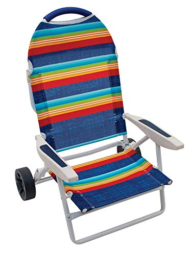 Rio Gear Beach Transporter 5-Position Lay Flat Folding Beach Chair with Wheels - Surf Power Blue/Multi Stripe, 8.5'