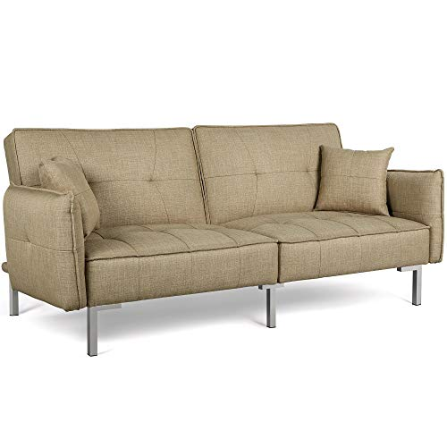 Yaheetech Fabric Sofa Bed 3 Seater Modern Click Clack Living Room Lounge Couch Sleeper Sofa Settee with Armrests,Khaki
