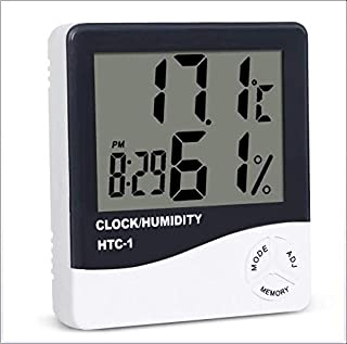 DJG Household Humidity Monitor & Digital Indoor Thermometer with Time Display Accuracy for Home Office Greenhouses