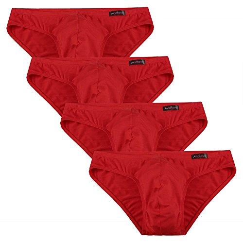 Avidlove Herren Unterwäsche 4er Pack, Slips Micro Modal - seidenweich Unterhose, 4 X Rot, M