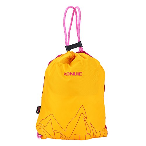 Waterdichte Trekkoord Rugzak, Eenvoudige Nylon Effen Tas Ultralight Tas Yoga Fitness Gym Tas, Vrouwen Mannen Outdoor Sport Bergbeklimmen Tassen Roos Rood+geel