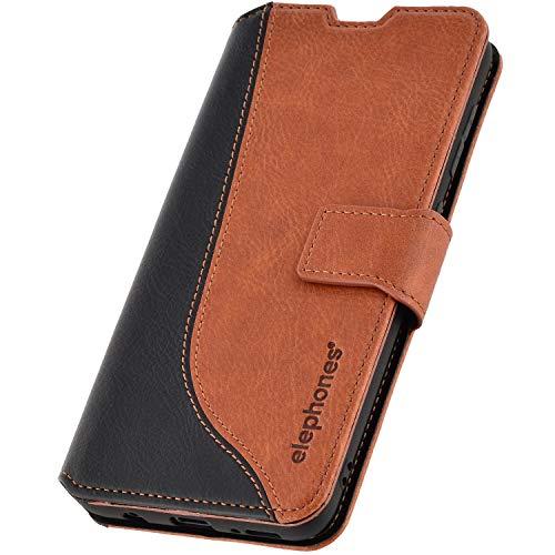 elephones® Handyhülle für Samsung Galaxy A50 Hülle - Kompatibel mit Galaxy A50 Schutzhülle Handy-Tasche Flip Case Cover Braun