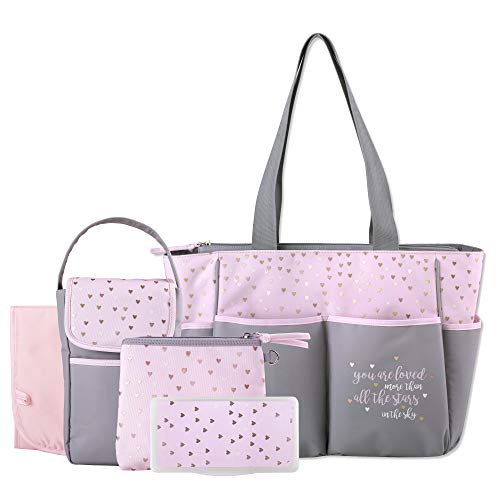Diaper Bag Tote 5 Piece Set with Sun, Moon, and Stars, Wipes Pocket, Dirty Diaper Pouch, Changing Pad (Grey/Pink)