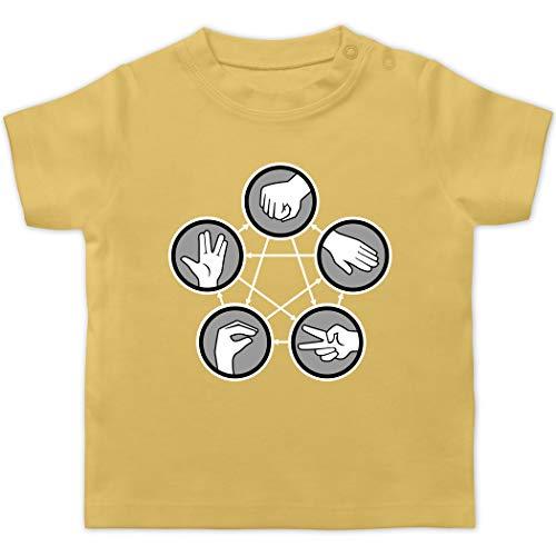 Up to Date Baby - Rock Paper Scissors Lizard Spock - Schere Stein Papier Echse Spock - 1/3 Monate - Hellgelb - T-Shirt - BZ02 - Baby T-Shirt Kurzarm