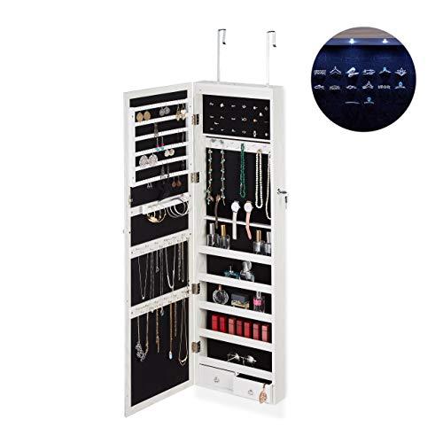 Relaxdays Schmuckschrank, Spiegel, LED Licht, abschließbar, Tür, Wandmontage, hängend, XXL, HBT 120x37x11,5 cm, weiß, 1 Stück