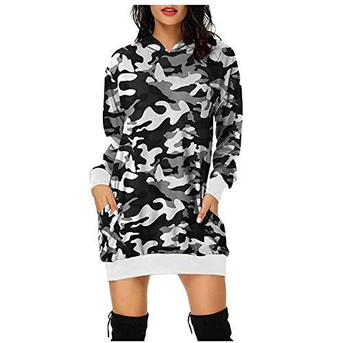 Women's Camouflage Tunic Dress Sweater Long Sleeve Hoodie Loose Pocket Dress Waist Sweatshirt Tunic Blouse Dress Shirt for Leggings Sport Leopard Top