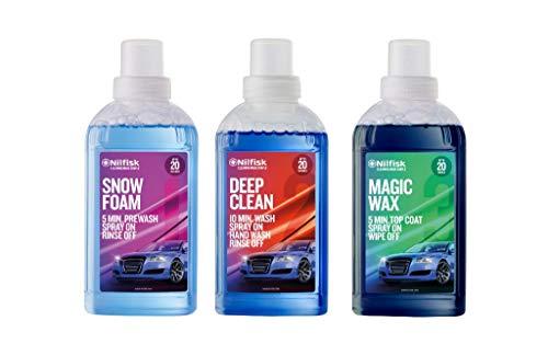 Nilfisk Kit de Limpieza de Coche para hidrolimpiadora en 3 Pasos, con Prelavado Snowfoam, detergente Deep Clean y Cera Magic Wax (3 Unidades de 500 ml)
