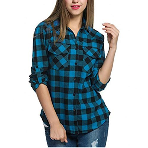 HJHK T Shirts Womens Long Sleeve Elegant Plaid with Pockets Button Loose Sweatshirt Lightweight Breathable Fitness Jogging Tops Autumn Christmas All-Match Shirts XL