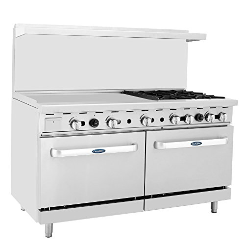 "CookRite Commercial Natural Gas Range 4 Burner Hotplates With 36"" Manual Griddle 2 Standard Ovens 60'' Restaurant Range - 229,000 BTU"