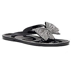 BlackSilver Bowtie Flip Flops Flat Slippers