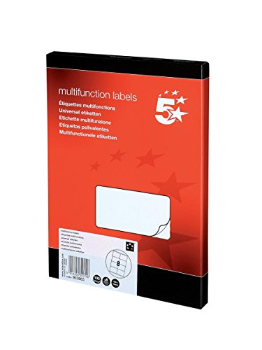 5 Star Labels Laser Copier and Inkjet 8 per Sheet 105x74mm [800 Labels],...