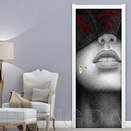 RGAHOT Türtapete 3D Türposter Mädchengesichtsmalerei selbstklebend Türfolie Tapete-Türaufkleber Dekoration, Wohnzimmer Küche Schlafzimmer Tür-Wand-Papier-Wandbild, Pvc-Wasserdicht 77x200cm