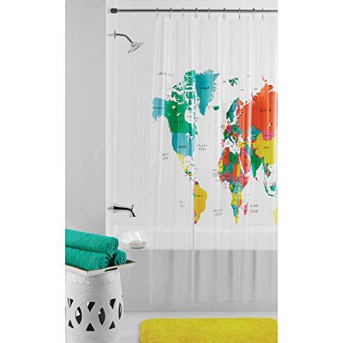 Mainstays Duschvorhang mit Weltkarte, PEVA, 183 x 183 cm