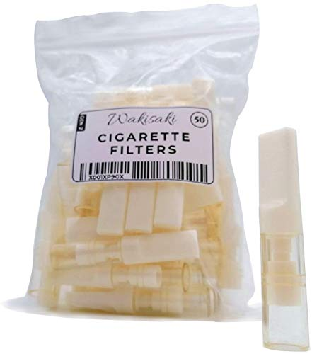 Disposable Cigarette Filters, Larger Chamber Retains More Tar, Longer Tip Made of Teeth-Friendly Material, (50 Count) by WAKISAKI (Gen-2)