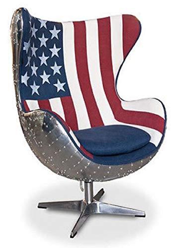 Casa Padrino sillón Giratorio de diseño Plata/diseño EE. UU. 87 x 77 x A. 116 cm - Sillón de salón en Forma de Huevo - Muebles de Aluminio