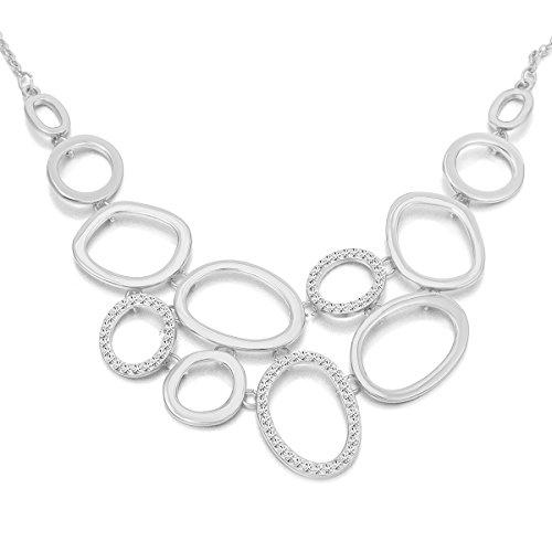 Collana donna, catena di anelli Collana pendente per ragazze Collana lunga catena di dichiarazione con collana di cristallo strass brillante (Placcato argento)