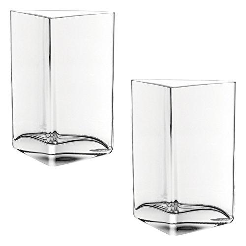 Leonardo Centro vaas driehoek, set van 2, bloemenvaas, glazen vaas, tafelvaas, decoratieve ovase, bloempot, glas, 23 cm, 046941