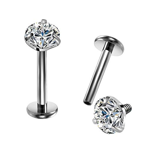 OUFER One Piece 16G G23 Solid Titanium Labret Piercing Internally Thread Lip Ring Clear CZ Tragus Helix Piercing Cartilage Earrings