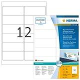 HERMA Etichette Staccabili, 99,1 x 42,3 mm, Etichette Adesive A4 per Stampante, 12 Etichette per Foglio, Bianco