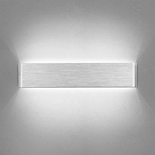 Yafido Wandleuchte Innen LED 40CM Wandlampe Up Down Wandbeleuchtung Silber Gebürstet 14W Kaltweiß 6000K Wandlicht für Schlafzimmer Wohnzimmer Bad Flur Treppen 230V