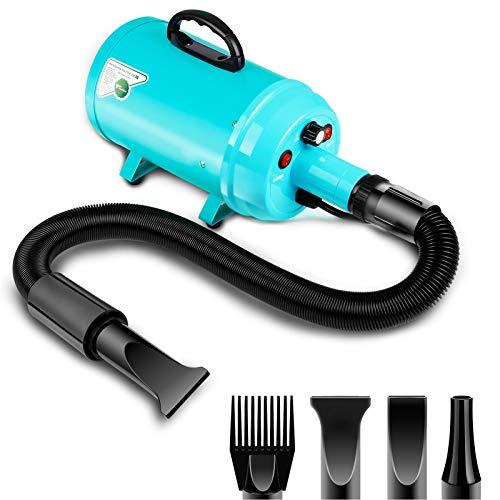 amzdeal Secador de pelo de perro 2800W/3.8HP, velocidad ajustable sin escalones, soplador de pelo de mascotas, soplador de fuerza de pelo de mascotas con sistema calefactado, manguera de resorte, azul