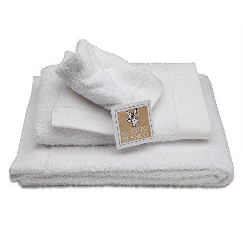 Burrito Blanco Juego de Toallas de Baño Lisas 3 Piezas (1 toalla de Ducha de 70x140 cm, 1 Toalla de...