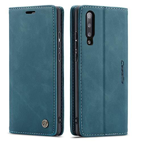 QLTYPRI Hülle für Samsung Galaxy A50, Vintage Dünne Handyhülle mit Kartenfach Geld Slot Ständer PU Ledertasche TPU Bumper Wallet Hülle Flip Schutzhülle für Samsung Galaxy A30S A50 A50S - Blau