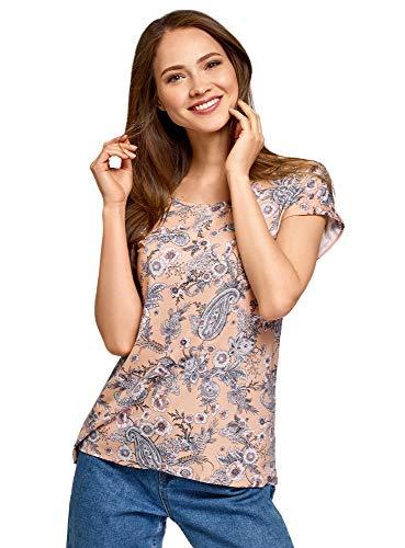 oodji Ultra Damen Lässiges Viskose-T-Shirt, Rosa, DE 42 / EU 44 / XL