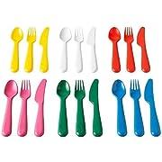 Ikea Kalas 18-Piece BPA-Free Flatware Set, Multicolored