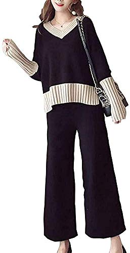 [エアバイ] Vネック ニット ワイドパンツ セットアップ 2点 セット バイカラー 長袖 セーター あたたかい あったかい あったか もふもふ ゆるふわ ゆったり ゆる リラックス カジュアル おしゃれ オシャレ かわいい きれいめ 秋冬 ルーム ルームウェア 部屋着 へやぎ くろ 黒色 ブラック 2着セット せっとあっぷ 2点セット ズボン トップス パンツ 上下セット 黒 A058-BKS