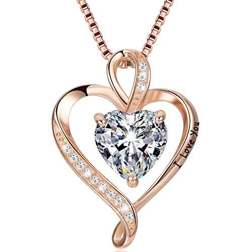 LAVUMO Collar de Mujer Amor Colgante de Corazón Oro Rosa Plata de Ley 925 Collares de Mujer,Joyas Regalos para Esposa, Mamá, Novia, Cumpleaños Navidad Aniversario día de San Valentín Regalo