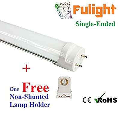 Fulight® Milky Clear F25T8/CW LED Tube Light- T8 3 foot 13W (25W Equivalent), Daylight 5000K, Single-Ended Power, Frosted Cover - Works from 85-277VAC + One Free Non-Shunted
