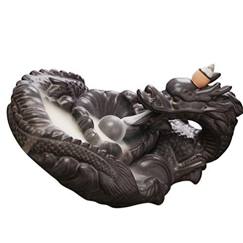 VOSAREA Cerámica Dragón Incienso Quemador Conos de Reflujo Palos Titular Porcelana Censer Reflujo Incienso Conos Animales Oranment Marrón