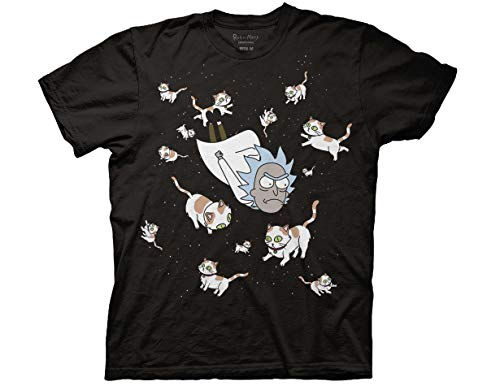Ripple Junction Rick and Morty Rick and Space Cats Adult T-Shirt Small Black