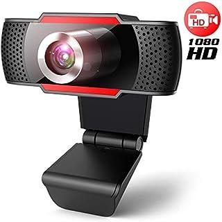 Webcam pc con micrófono, Web cámara 1080p con micrófono reducción de Ruido, Vista Gran Angular de 105º para transmisión en Streaming, conferencias en Zoom, Youtube, Skype, Compatible con Windows, Mac