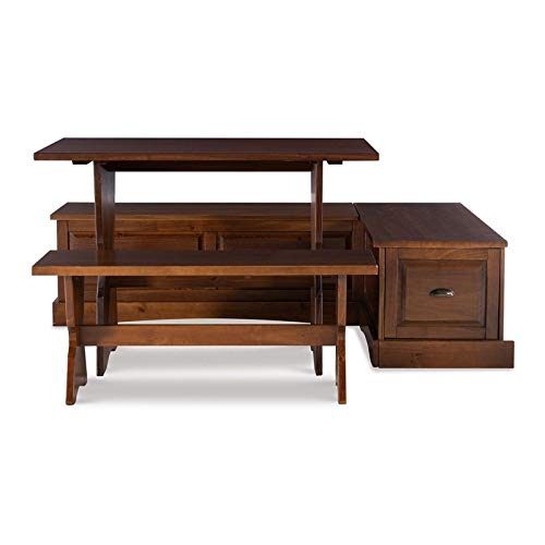 Riverbay Patio Conversation Kitchen Backless Breakfast Corner Nook Table Booth Bench Dining Set with Hidden Storage in Walnut Brown
