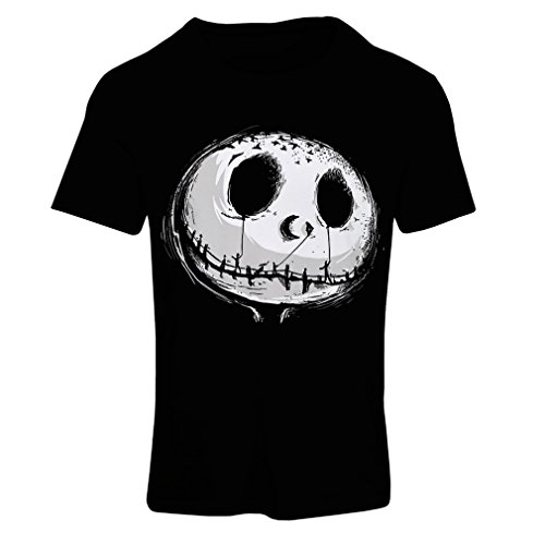lepni.me Camiseta Mujer cráneo asustadizo Cara - Pesadilla - Ropa de Fiesta de Halloween (Large Negro Multicolor)