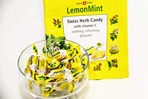 リコラレモンミントハーブキャンディー1袋70g4袋セットスイスハーブキャンディー合成香料着色不使用